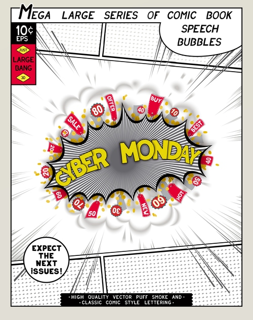 Cyber monday comic bang vector