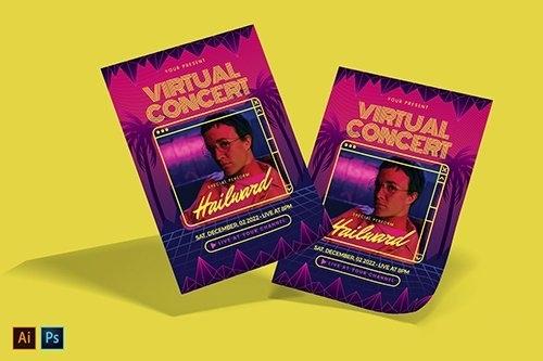 Cyberpunk Virtual Music Concert Flyer vector