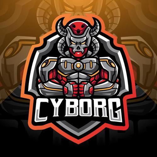 Cyborg esport mascot logo vector