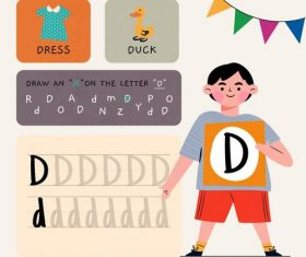 D letter word meaning and spelling vector