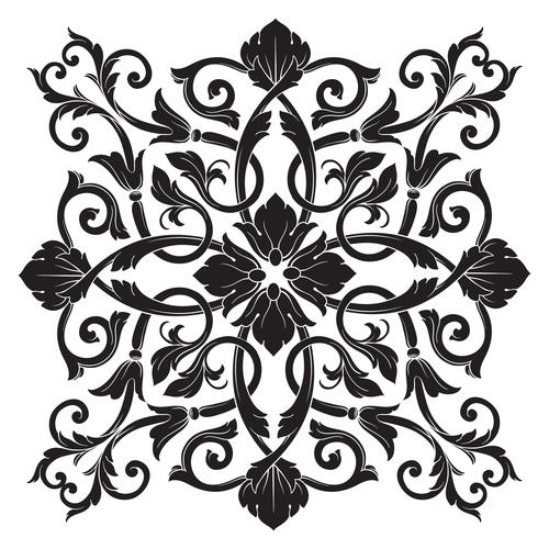 Damask decorative floral pattern vector