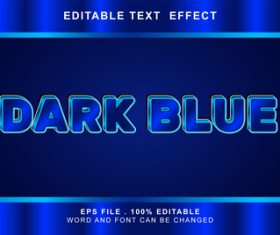 Dark blue 3d editable text style effect vector