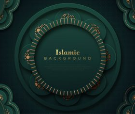 Dark green Islamic classic ornaments background vector