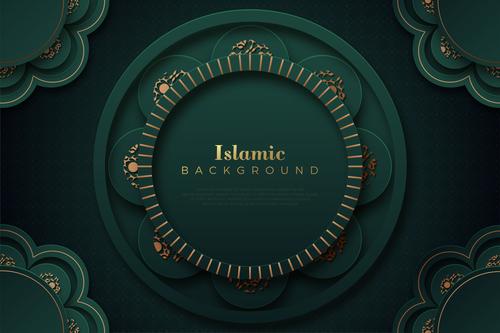 Dark green Islamic classic ornaments background vector