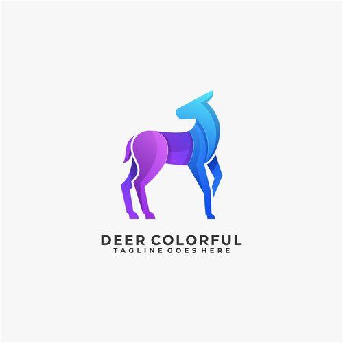 Deer colorful logos vector