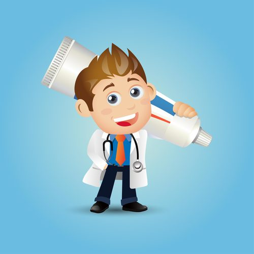 Dentist cartoon vector carrying toothpaste