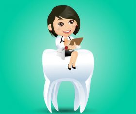 Dentist cartoon vector sitting on teeth