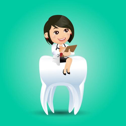 Dentist cartoon vector sitting on teeth