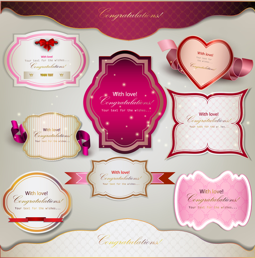 Design different shapes label stickers vector