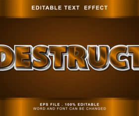 Destruct 3d editable text style effect vector