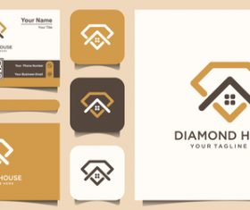 Diamond house business card logo vector