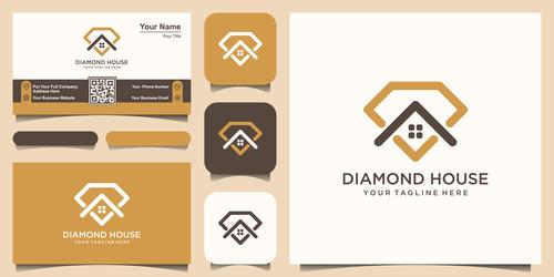 Diamond house business card logo vector