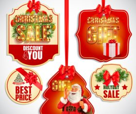 Different kinds of Christmas sale labels vector