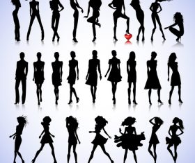 Different poses female silhouette characters vector