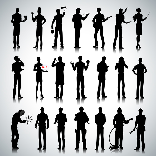 Different profession people silhouette vector