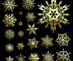 Different shapes gold snowflakes vector