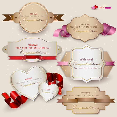 Different shapes of labels stickers and ribbons vector