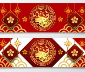 Different style design Chinese New Year greeting banner vector