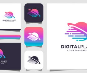 Digitalplanet business card logo vector