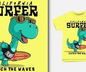 Dinosaur T-shirt printing design vector