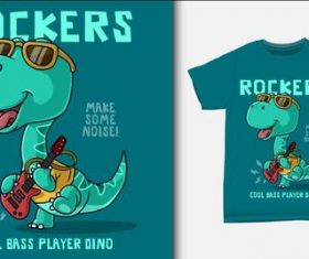 Dinosaur playing electric guitar and T-shirt printing design vector