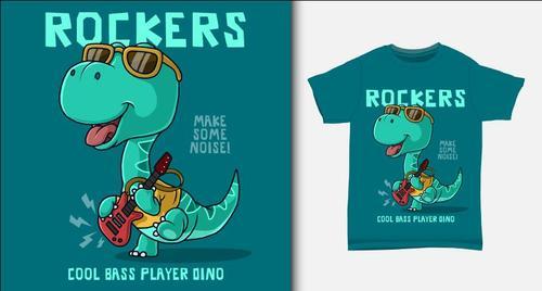 Dinosaur playing electric guitar and T shirt printing design vector