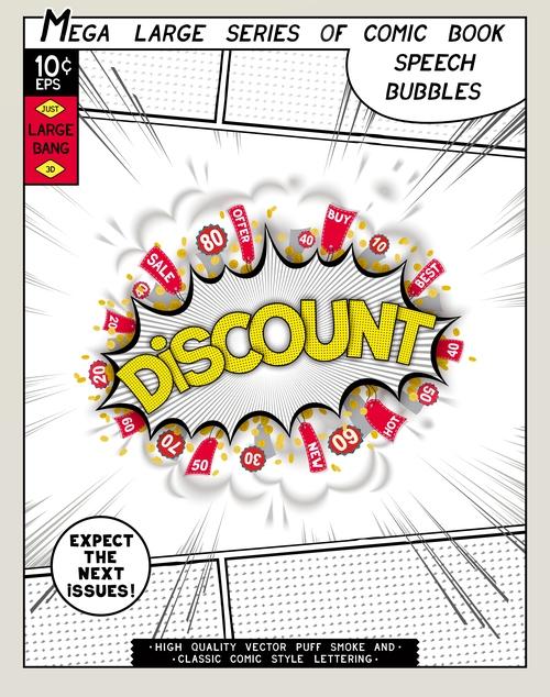 Discount comic bang vector