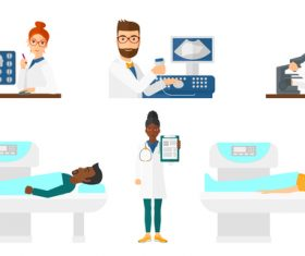 Doctor characters and patients vector