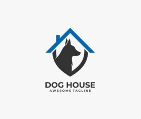 Dog house logos vector