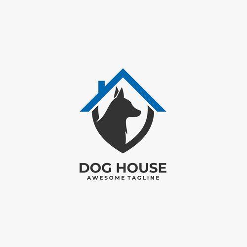 Dog house logos vector
