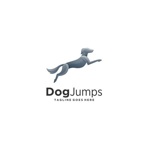 Dog jumps logos vector