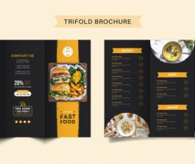Eat good menu trifold brochure vector