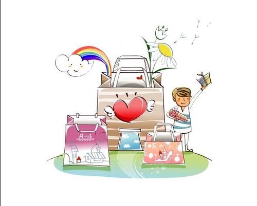 Eco shopping bag concept illustration vector