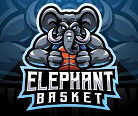 Elephant esport mascot logo vector