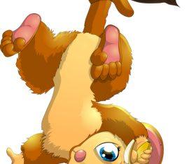 Falling down on the tree eating banana cartoon vector