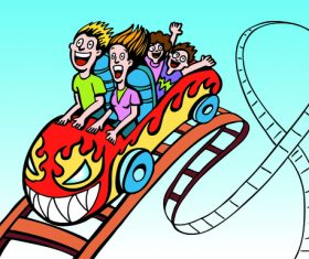 Family ride roller coaster vector