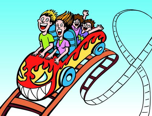 Family ride roller coaster vector