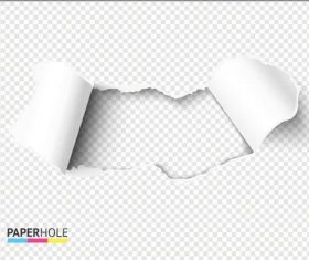 Fan-shaped ripped paper hole background vector