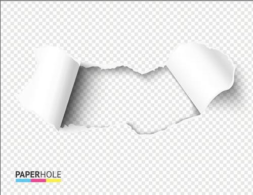 Fan shaped ripped paper hole background vector