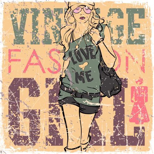 Fashion retro women vector