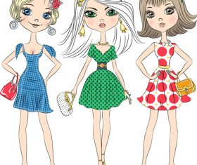 Fashionable clothes girl pose cartoon vector
