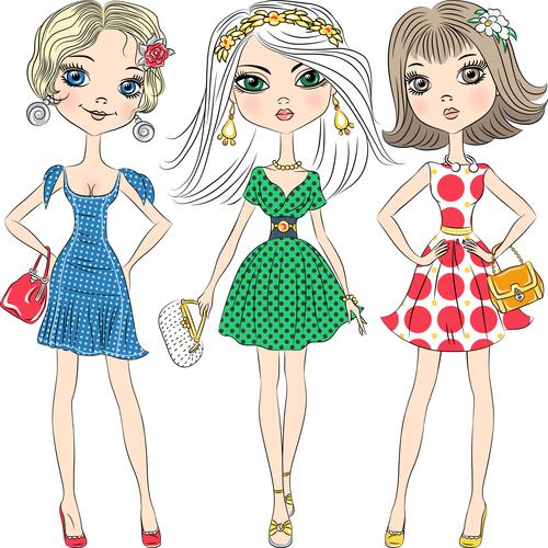 Fashionable clothes girl pose cartoon vector