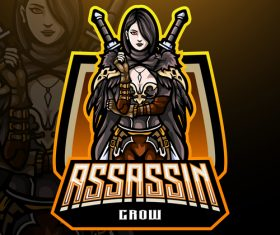 Female assassin game mascot design vector