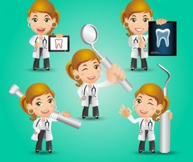Female dentist cartoon vector