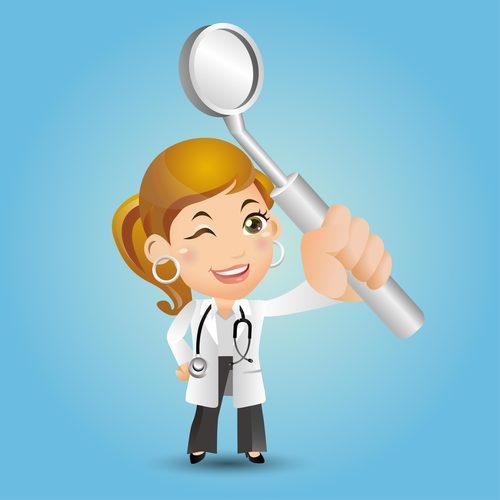 Female dentist cartoon vector holding a mirror
