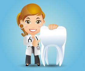 Female dentist presenting teeth cartoon vector