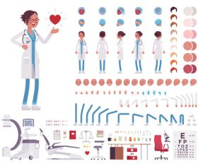 Female doctor character cartoon design vector