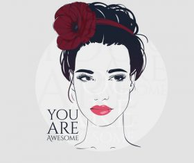 Female portrait vector wearing floral hairpin