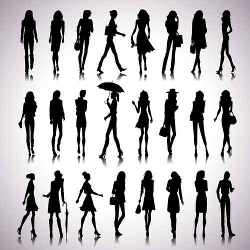 Female silhouette vector in different poses