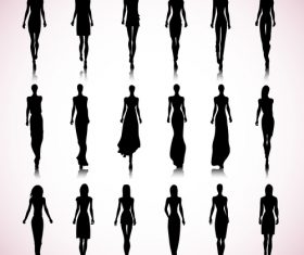 Female silhouette vector in dress